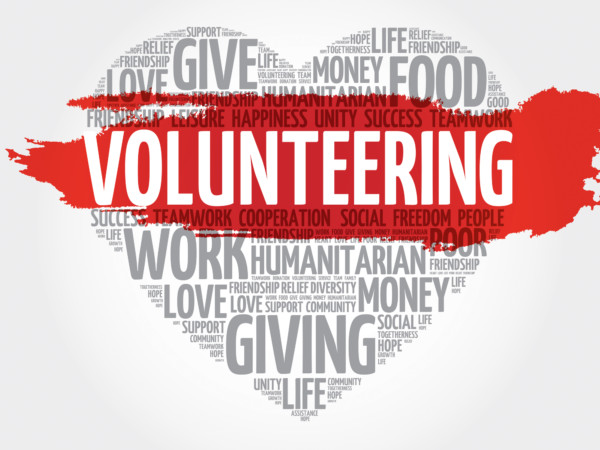 Volunteering word cloud, heart concept