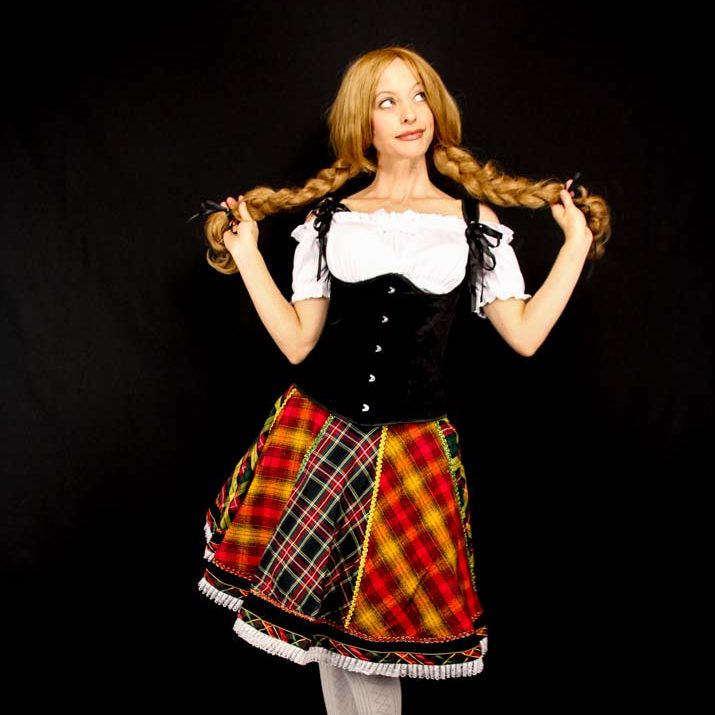 Octoberfest Girl Holding Her Braids