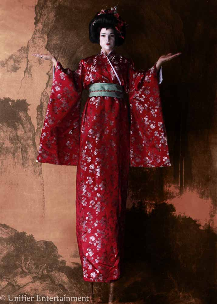 Red Geisha Stilt Walker