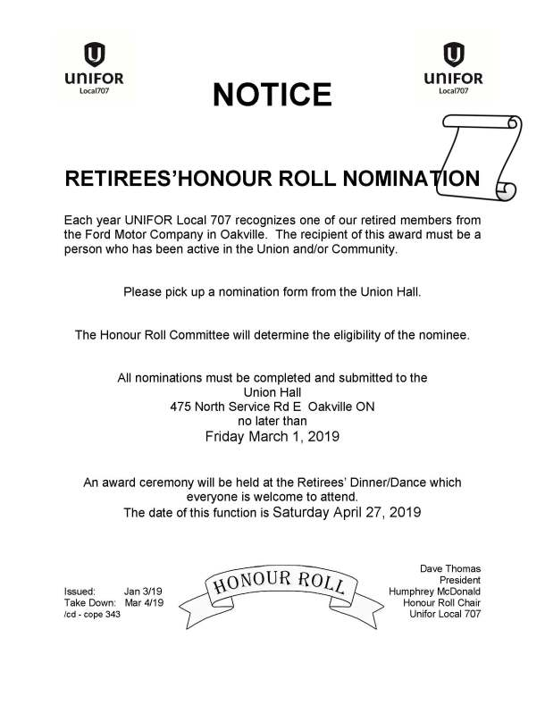 Honour Roll Nomination - April 27 2019