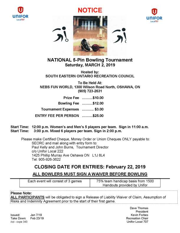 National 5-Pin Bowling Tournament Sat Mar 2 2019 Oshawa ON