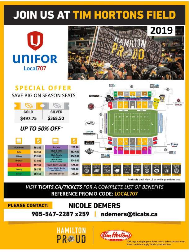 Hamilton Tiger Cats Local707 Season Offer available until May 15 or while quantities last