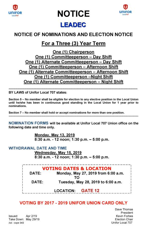 Leadec 3 Year Term Elections May 2019 Notice