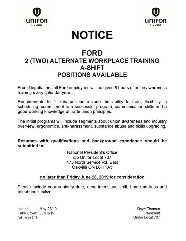2 Alternate Workplace Training Positions resumes due June 28 2019