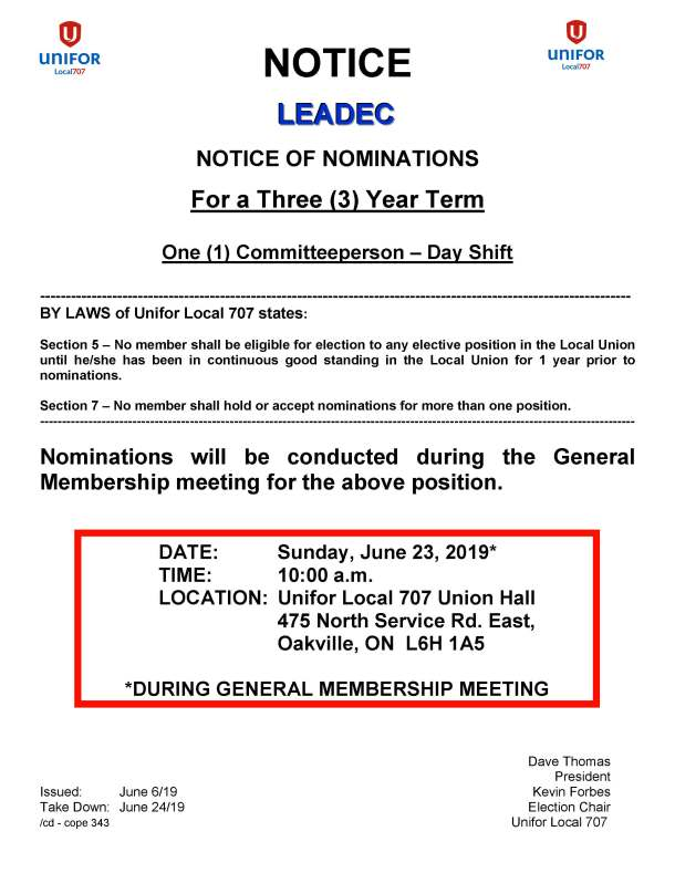 Leadec 3 Year Term Elections June 2019 Committeeperson Day Shift