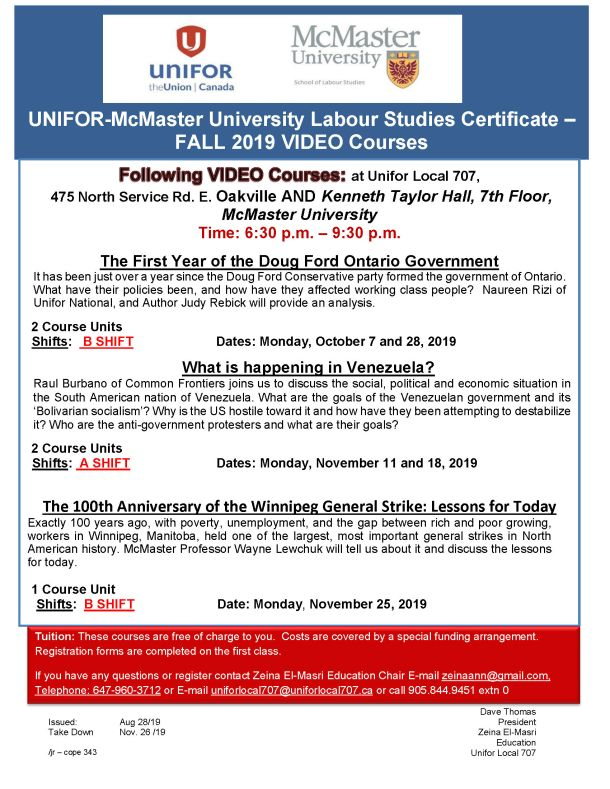 McMaster Studies Certificate FALL 2019 VIDEO Courses at Unifor Local 707