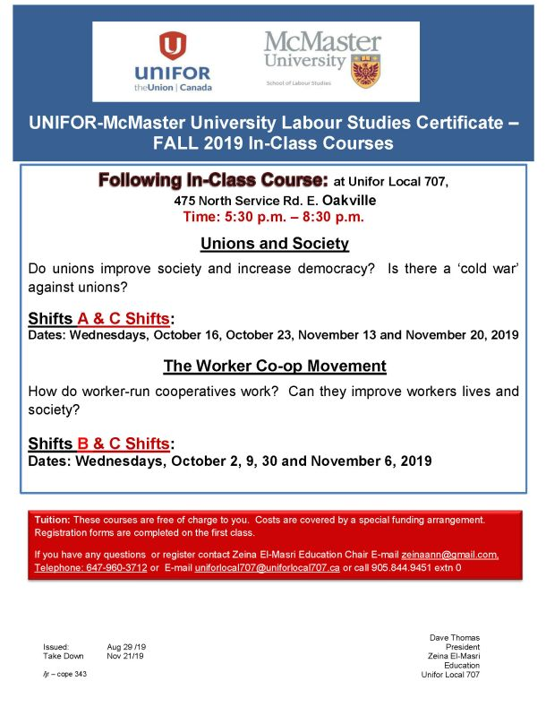 McMaster Studies Certificate Fall 2019 Course at Unifor Local 707 Hall