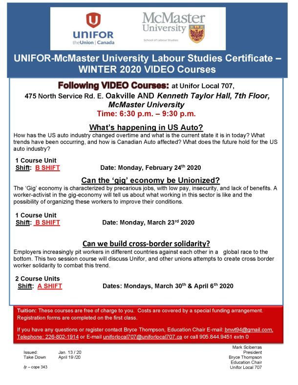 McMaster Studies Certificate WINTER 2020 Video Courses at Unifor Local 707