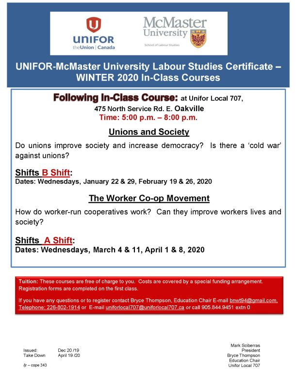 McMaster Studies Certificate WINTER 2020 Course at Unifor Local 707 Hall