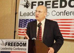 Lt. Col. Tim Hanigan (USMC, Ret.) spoke in behalf of Uniformed Services League at the October 17, 2013 Freedom Leadership Conference at the Fairfax Marriott Hotel at Fair Lakes, Northern Virginia.