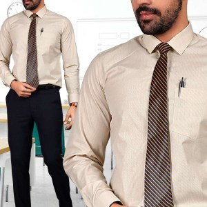 Beige-Micro-Chex-Formal-Uniform-Shirts-Trousers-Set-for-Corporate-Office-S-445901-1