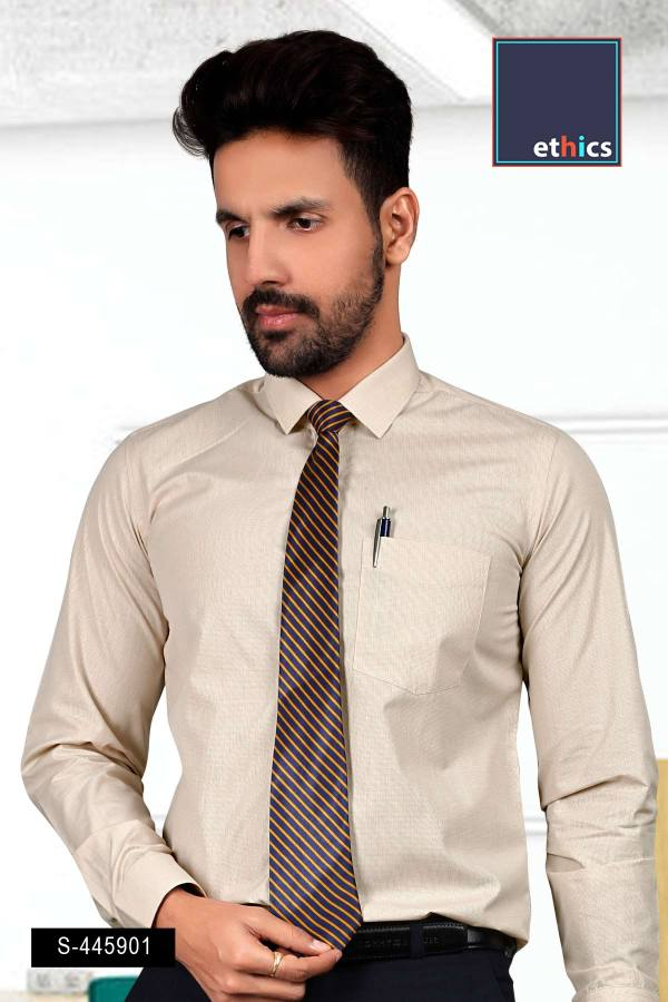 Beige-Micro-Chex-Formal-Uniform-Shirts-for-Corporate-Office-S-445901