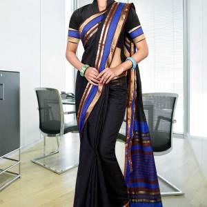Black-with-blue-border-uniform-saree-249