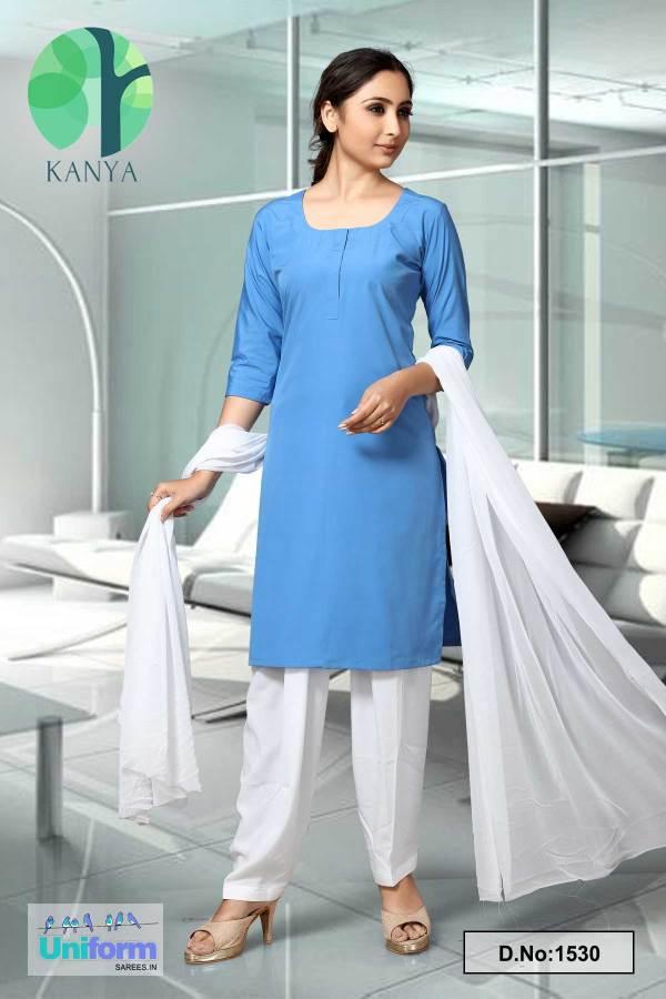 Blue-and-White-Kanya-Salwar-Kameez-for-School-Teacher-Uniforms-1530