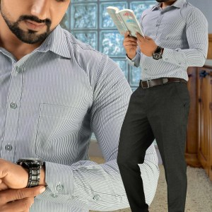 Gray-Stripes-Formal-Wear-Shirt-Trousers-Set-for-Corporate-Office-D-98104-1