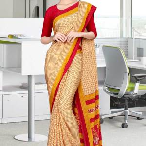 Off white and red italian crepe silk office uniform saree-550-19