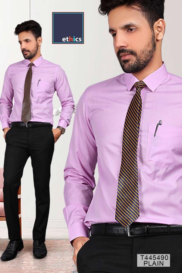 Purple-Plain-Readymade-Uniform-Shirts-Trousers-Set-for-Corporate-Staff-T445490