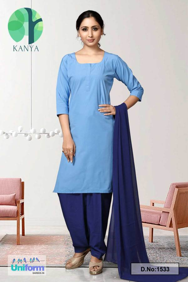 Sky-Blue-and-Navy-Blue-Kanya-Salwar-Kameez-for-Housekeeping-Staff-Uniforms-1533