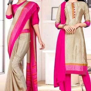 beig-dark-pink-premium-italian-silk-crepe-saree-salwar-combo-for-receptionist-uniform-sarees-1612-c