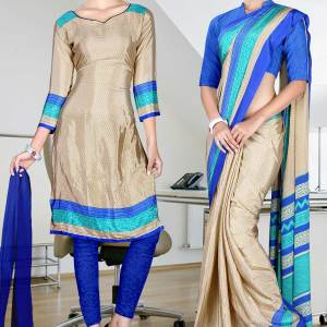 beige-and-blue-italian-crepe-uniform-saree-combo-115