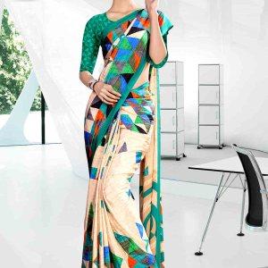 beige-and-green-icrepe-corporate-uniform-saree-842-19