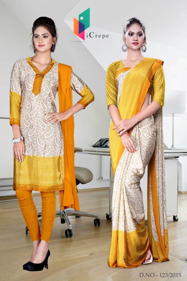 beige-and-orange-italian-crepe-uniform-saree-salwar-combo-123
