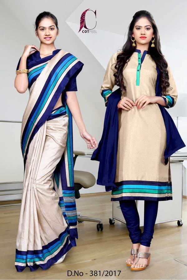 beige-blue-border-tripura-cotton-uniform-saree-salwar-combo-381