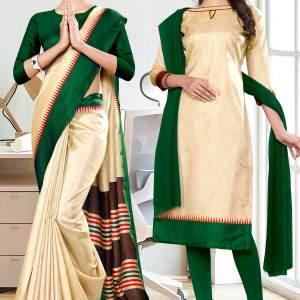 beige-bottle-green-gala-border-premium-polycotton-cotfeel-saree-salwar-kameez-combo-for-annual-function-uniform-sarees-1069-1069-C