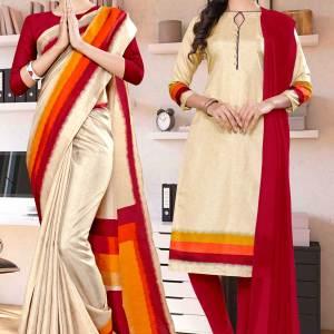 beige-maroon-gala-border-premium-polycotton-cotfeel-saree-salwar-combo-for-employee-uniform-sarees-1078