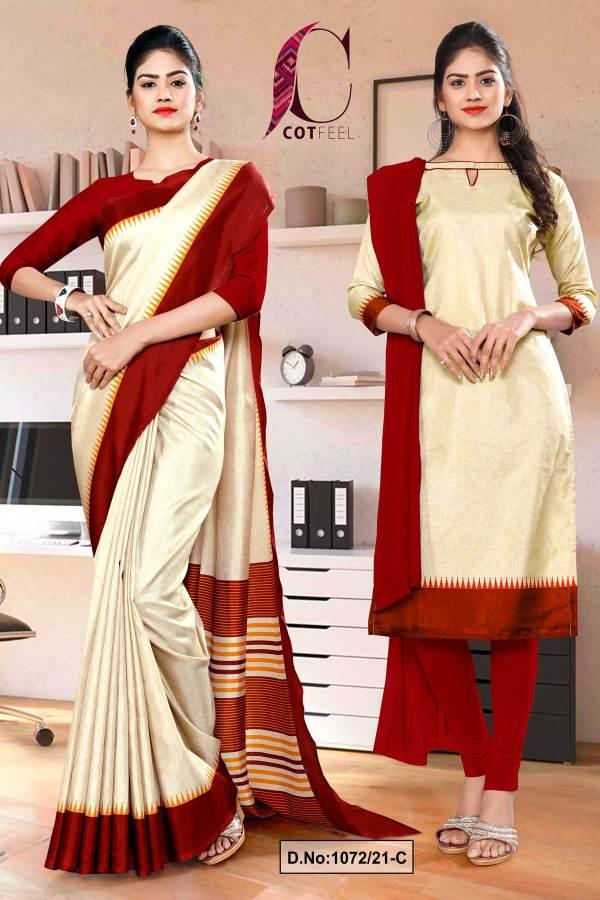 beige-maroon-gala-border-premium-polycotton-cotfeel-saree-salwar-combo-for-office-uniform-sarees-1072