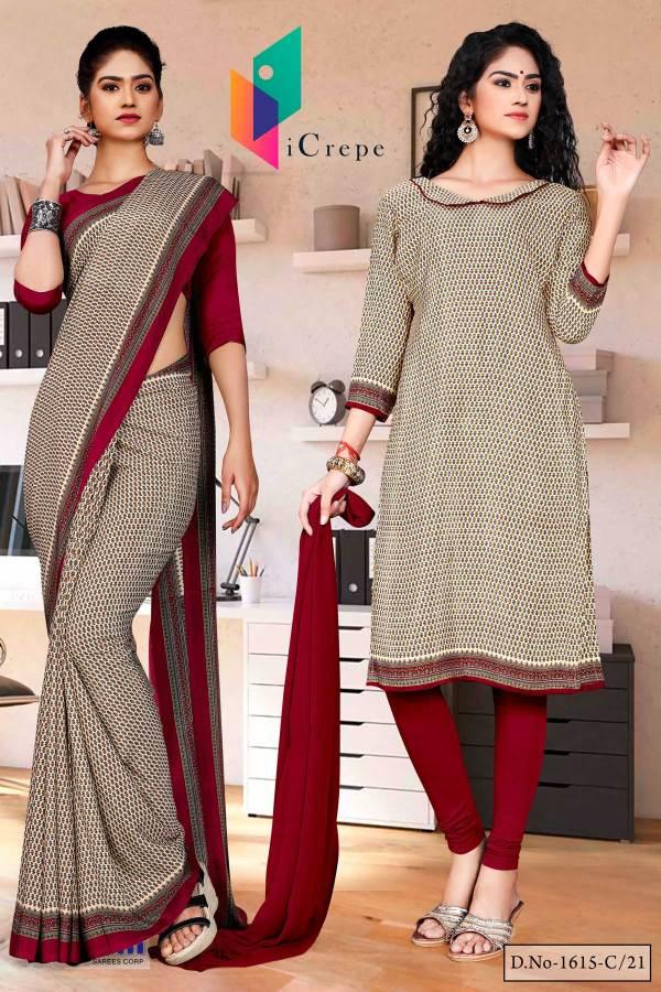beige-maroon-small-print-premium-italian-silk-crepe-uniform-sarees-salwar-combo-for-students-1615-c