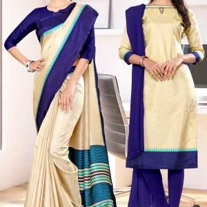beige-navy-blue-gala-border-premium-polycotton-cotfeel-saree-salwar-combo-for-institution-uniform-sarees-1074