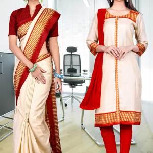 beige-orange-border-tripura-cotton-uniform-saree-salwar-combo-383