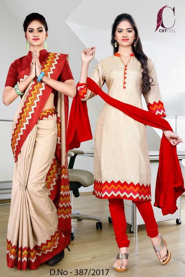beige-orange-white-border-tripura-cotton-uniform-saree-salwar-combo-387
