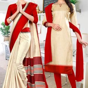 beige-red-gala-border-premium-polycotton-cotfeel-saree-salwar-combo-for-school-uniform-sarees-1070