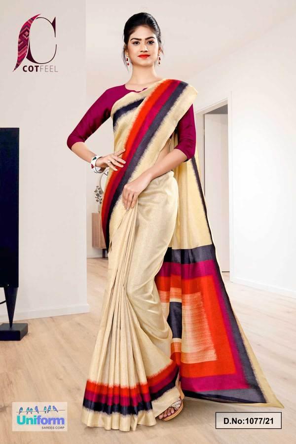 beige-wine-gala-border-premium-polycotton-cotfeel-saree-for-front-office-uniform-sarees-1077-21