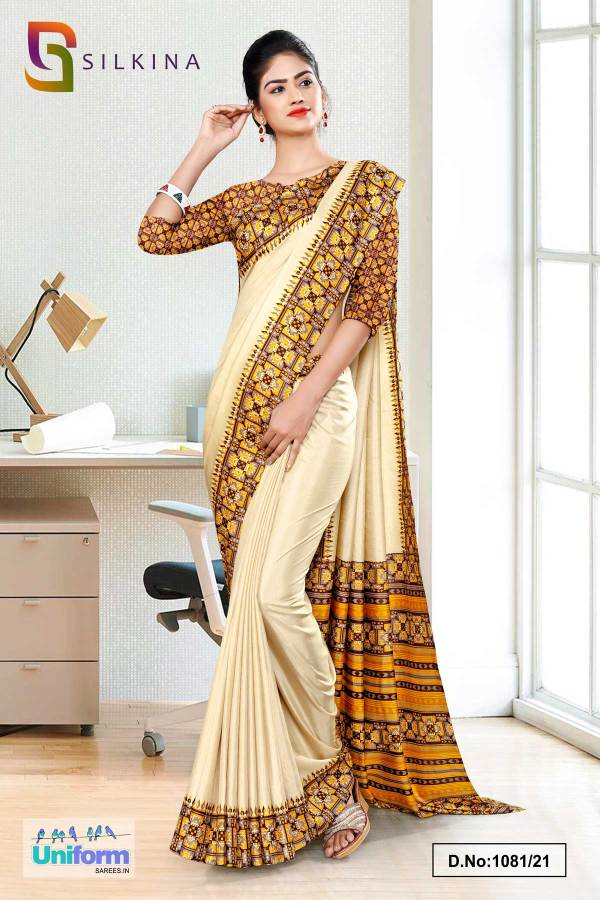beige-yellow-printed-blouse-concept-polycotton-raw-silk-saree-for-receptionist-uniform-sarees-1081