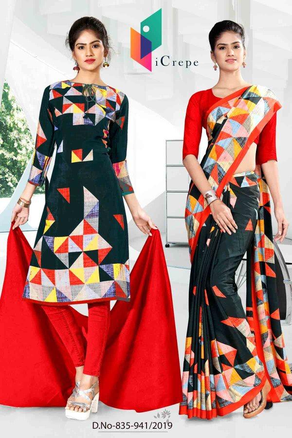 black-and-red-icrepe-silk-institute-uniform-saree-salwar-combo-835 -941