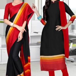 black-and-red-italian-crepe-silk-staff-uniform-saree-salwar-combo-514-656