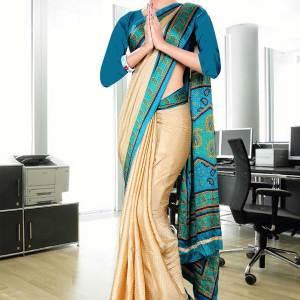 beige-and-turquoise-jacquard-crepe-taj-hotel-uniform-sarees-22