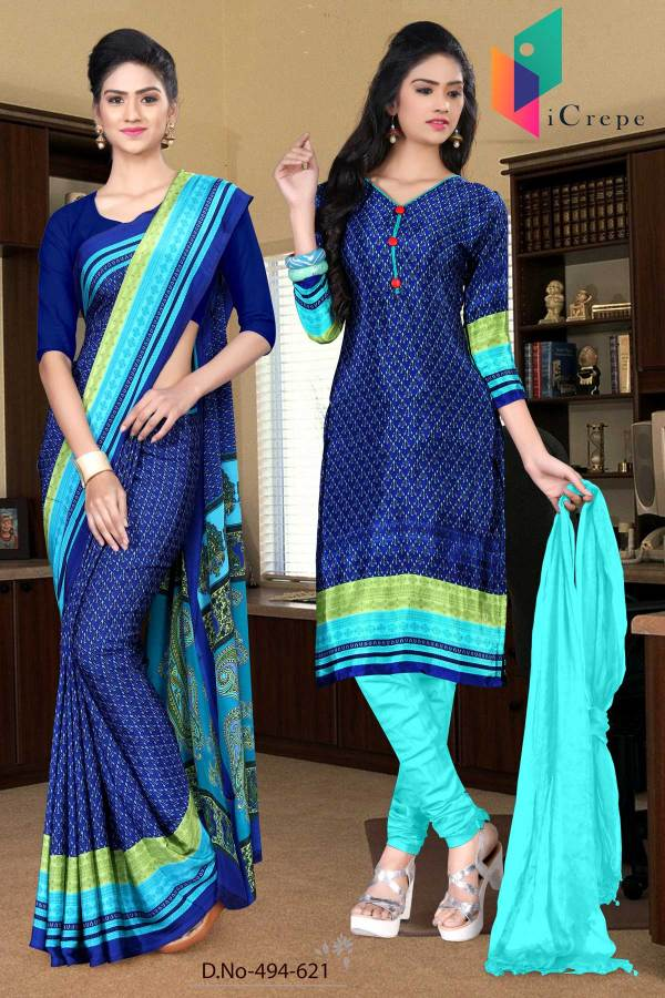 blue-and-blue-italian-crepe-silk-college-uniform-saree-salwar-combo-494-621
