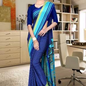 blue-and-blue-italian-crepe-silk-female-staff-uniform-saree-494