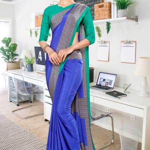 blue-green-premium-italian-silk-crepe-uniform-sareefor-office-staff-1052-21