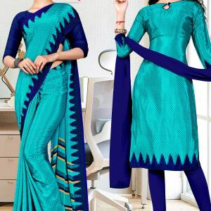 blue-premium-georgette-small-print-housekeeping-uniform-sarees-salwar-combo-for-support-staff-1607-c