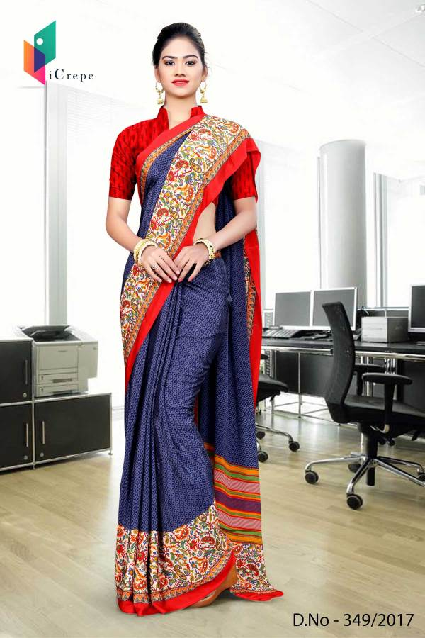 blue-red-italian-crepe-uniform-saree-349