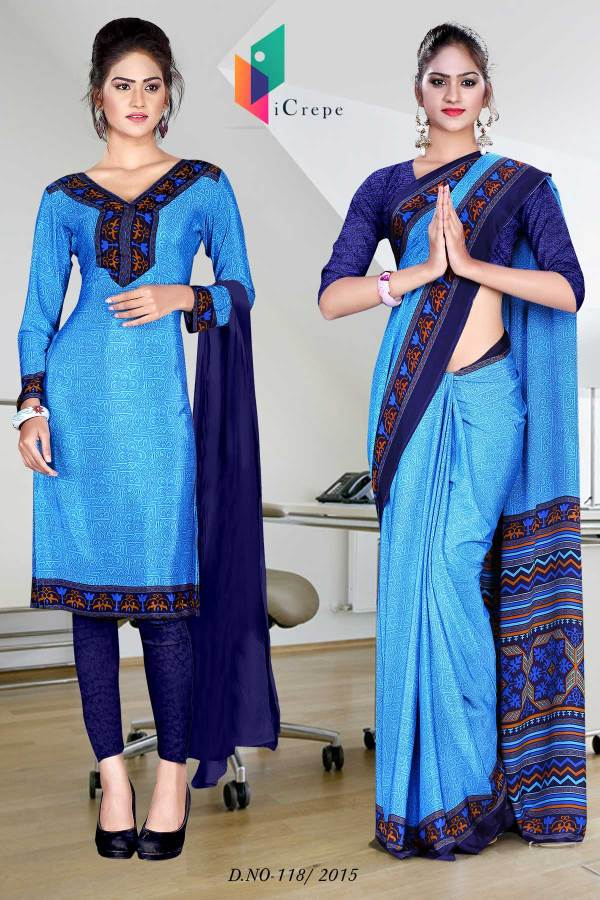 blue-with-navy-blue-border-italian-crepe-uniform-saree-combo-118