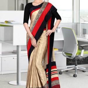 brown-and-black-italian-crepe-silk-air-hostess-uniform-saree-529