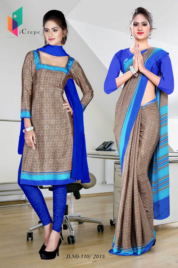 brown-and-blue-italian-crepe-uniform-saree-salwar-combo-110