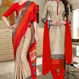 brown-and-red-italian-crepe-silk-teachers-uniform-saree-salwar-combo-527-678