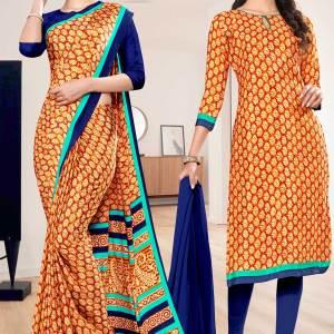 brown-blue-premium-italian-silk-crepe-saree-salwar-combo-for-factory-uniform-sarees-1035-C